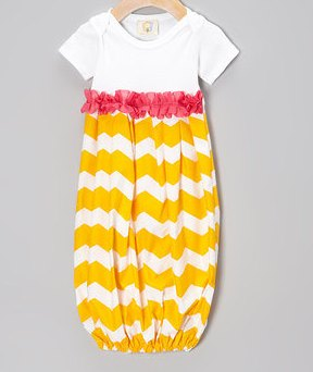 Yellow & White Chevron with Pink Accent Newborn Infant Gown