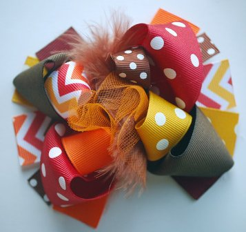 Mini Mod Thanksgiving Chevron Loopy Hair Bow-thanksgiving, Chevron, Loopy, Hairbow, hair bow, orange, brown, cranberry, mustard