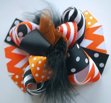 Mini Mod Halloween Chevron Loopy Hair Bow-Mini, Mod, Halloween, Chevron, Loopy, Hairbow, hair bow, fall, orange, black