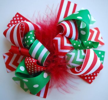 Red, White & Green Christmas Chevron Loopy Hair Bow-white, green, Christmas, chevron, loopy, hair bow, hairbow, boutique, funky, fun, holiday