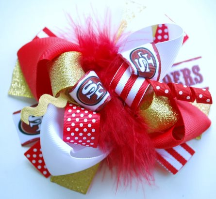 San Francisco 49ers Football Loopy Boutique hair Bow-sports, hairbow, red, gold, football