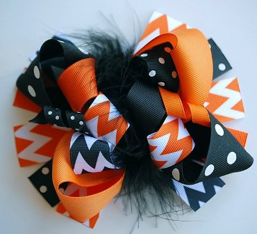 Classic Halloween Chevron Loopy Hair Bow-classic, Halloween, Chevron, loopy, hairbow, hair bow, fall, boutique, funky, fun, orange, black