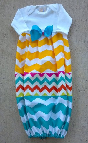 Patchwork Chevron Newborn Infant Gown