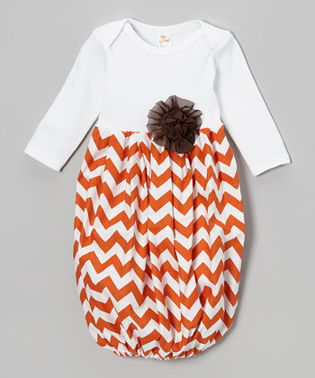 Brown & White Fall Chevron Newborn Infant Gown-brown, white, fall, take me home, chevron, newborn, infant, gown, layette, fall, Thanksgiving