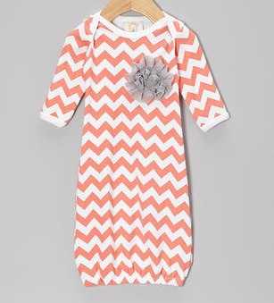 Peach, White & Grey Chevron Newborn Infant Gown