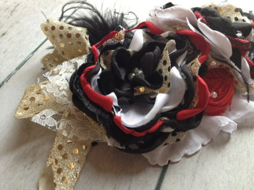 Vintage Black, Red & Gold Flower Holiday Headband