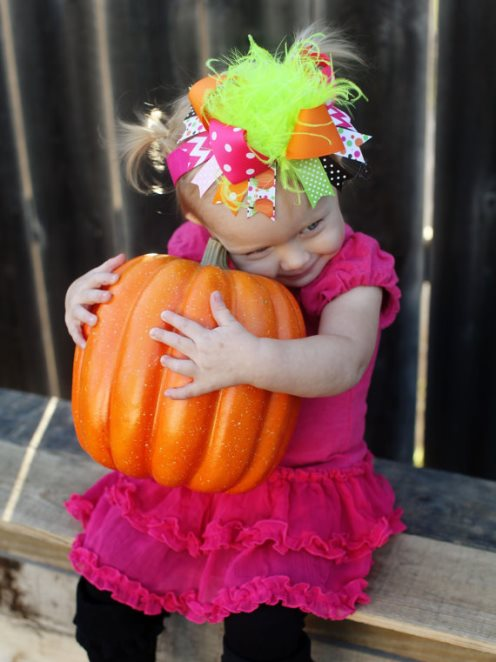 Bright Thanksgiving Pumpkins Over the Top Hair Bow Headband-hot pink, lime, green, orange, pumpkin, pumpkins, fall, thanksgiving, pumpkin patch, big, hairbow, hair, bow, headband, infant, baby, girl, boutique