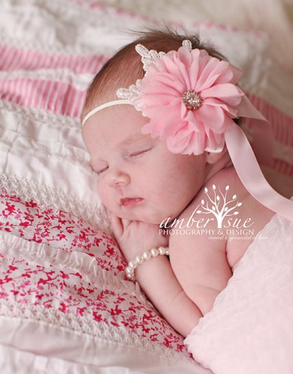 Pink Newborn Chiffon Flower Rhinestone Center Pink Bow Headband-unique, newborn, infant, baby, girl, couture, flower, headband, satin bow, light pink, pink, couture, chiffon flower,
