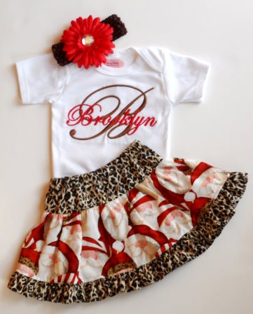 Leopard Santa Personalized Onesie, Skirt & Headband Outfit Set-cheetah, leopard, animal, print, santa, christmas, holiday, outfit, set, infant, baby, girl, boutique, personalized, clothing, newborn, holiday