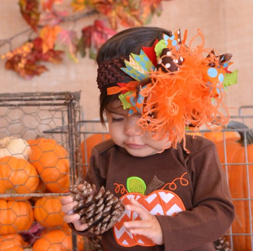 Funky Thanksgiving Over The Top Hair Bow Headband