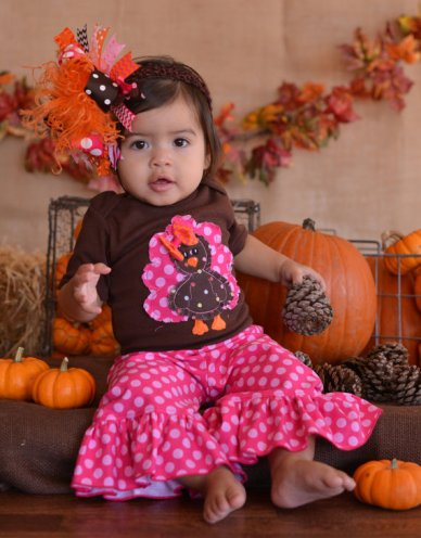 Raggy Shabby Polka Dot Turkey Outfit-raggy,shabby,turkey,outfit,sweet,fall, orange,fall,embroidered,Thanksgiving,