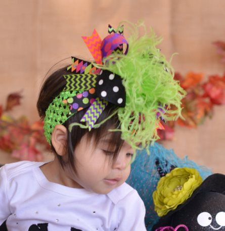 Sweet Brew Halloween Over the Top Hair Bow Headband-lime green, purple, orange, chevron, polka dots, halloween, hairbow, hair, bow, funky, feathers