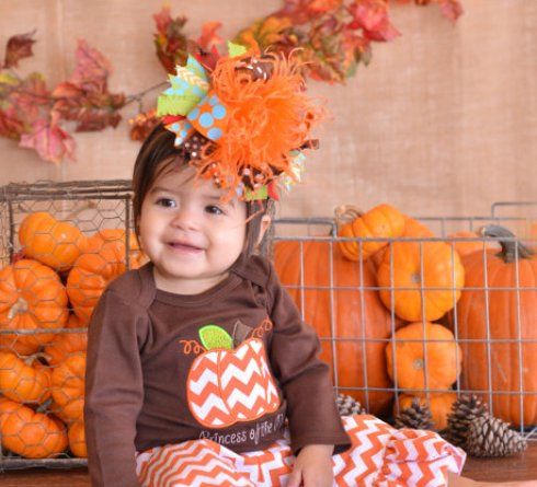 Funky Thanksgiving Over The Top Hair Bow Headband-funky,thanksgiving,over the top,hair bow, headband,hairbow,head band,fall,orange brown,turquoise,green,red,polka dot,chevron