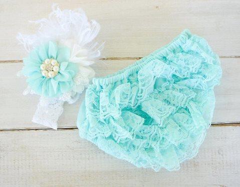Aqua & White Flower Lace Headband & Ruffle Bloomer Set-aqua, lace bloomers, bloomer, diaper cover, newborn, baby, girl, photo shoot, infant, lace, ruffle, vintage