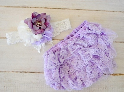 Lavender & White Flower Lace Headband & Ruffle Bloomer Set-lavender, light purple, white, ruffle, lace, diaper cover, infant, baby, girl, boutique, set, newborn, couture, photo prop