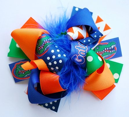 Florida Gators Football Loopy Boutique Hair Bow-football, gators, florida, blue, green, orange, sports, infant, baby, girl, hairbow