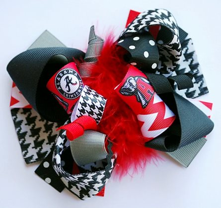 Alabama Crimson Tide Football Boutique Loopy Hair Bow-red, black, football, infant, baby, girl, hairbow, sports