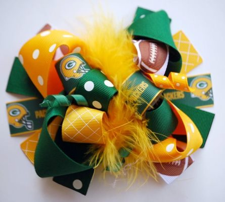 Greenbay Packers Football Loopy Boutique Hair Bow-green, gold, yellow, football, sports, hairbow, infant, baby, girl, helmet,