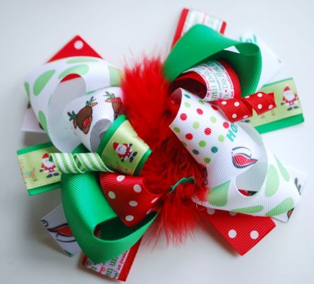 It's Christmas Boutique Loopy Hair Bow-rudolph, reindeer, santa, claus, red, green, christmas, holiday, hairbow, hair, bow, clip, classic