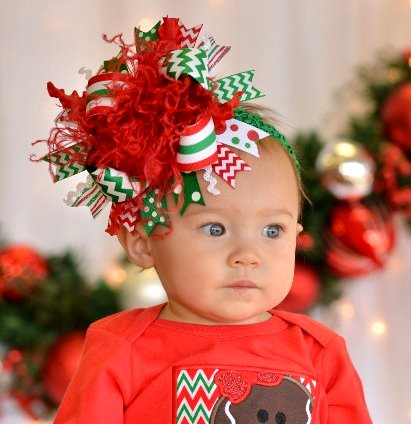 Merry Christmas Over the Top Hair Bow Headband-red, green, classic, christmas, holiday, hairbow, headband, infant, baby, girl, boutique, large, huge, bow
