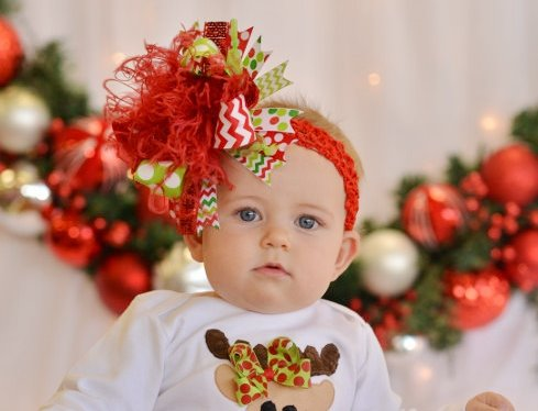 Christmas Celebration Over the Top Hair Bow Headband-red, lime, green, infant, baby, girl, boutique, large, huge, christmas, holiday, hairbow, headband, sparkle, feathers, polka dots, chevron