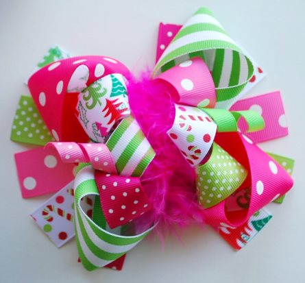 Whimsy Christmas Tree Boutique Loopy Hair Bow-hot pink, green, christmas, holiday, candy cane, whimsical, pink, hairbow, clip,