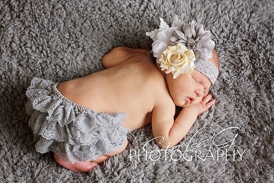 Gray & Yellow Flower Lace Headband & Ruffle Bloomer Set-grey, gray, ruffle, lace, diaper cover, bloomer, bloomers, newborn, infant, baby, girl, boutique, set, photo prop, flower, lave, vintage