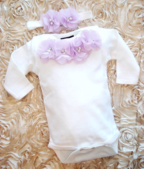 Baby Girls White Lavender Onesie & Matching Flower Headband Outfit Set-Infant, Baby ,Girl, One Piece Set, White, Long Sleeve, Set, Headband, lavender, onesie, outfit, newborn, gift set, baby shower