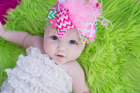 Hot Pink Chevron & Lime Green Over the Top Hair Bow Headband-hot pink, chevron, lime, green, infant, baby, girl boutique, hair, bow, huge, hairbow, newborn, baby girl, ribbons, feathers