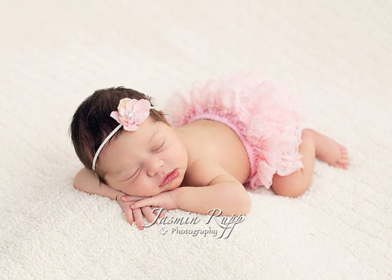 Pink Ruffle Lace Bloomers & Flower Headband Set-light pink, newborn, baby girl, infant, diaper cover, lace bloomers, bloomer, photo shoot, ruffle, pink, princess