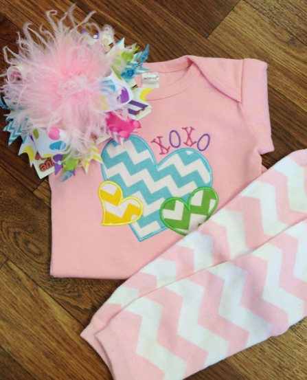 Pastel Conversation Hearts Chevron Valentine Onesie-love, chevron, hearts, pink, valentine, valentine's day, valentines day, outfit, set, leg warmers, over the top bow, hair bow, newborn, infant, baby, girl, boutique, clothing, set