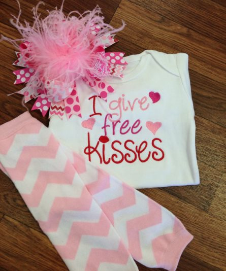 I Give Free Kisses Valentine Heart Onesie-pink, light, hot, valentine, valentines day, valentine's day, love, kiss, kisses, hearts, onesie, outfit, leg warmers, chevron, white, set