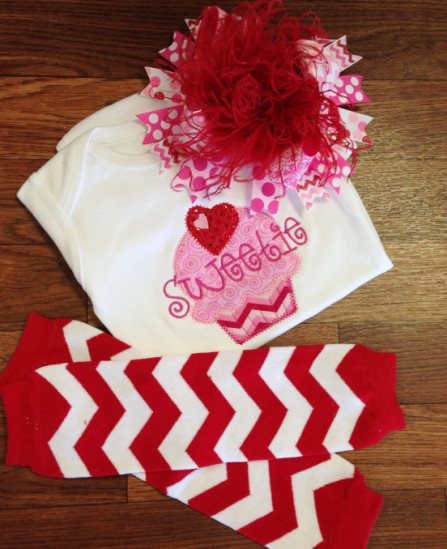 Cupcake Sweetie Valentine Chevron Onesie-red, pink, hot pink, cupcake, shirt, onesie, outfit, set, leg warmers, over the top, hair, bow, hairbow, headband,