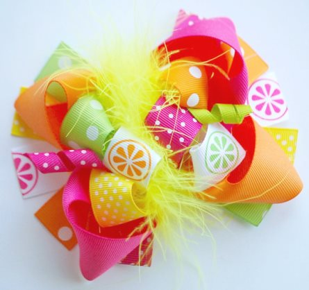 Summer Citrus Boutique Loopy Hair Bow-hot pink, orange, lime, green, citrus, summer, hairbow, hair, bow, infant, baby, girl, boutique