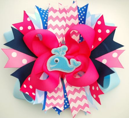 Girlie Whale Watching Boutique Hair Bow-blue, hot pink, whale, summer, boutique, hairbow, hair, bow, shocking, aqua, navy, infant, baby, girl