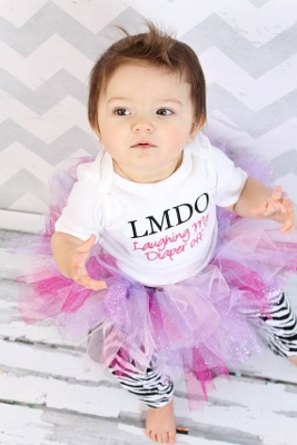 Laughing My Diaper Off Embroidered Onesie-onesie, text, embroidered, saying, black , and, pink, shirt