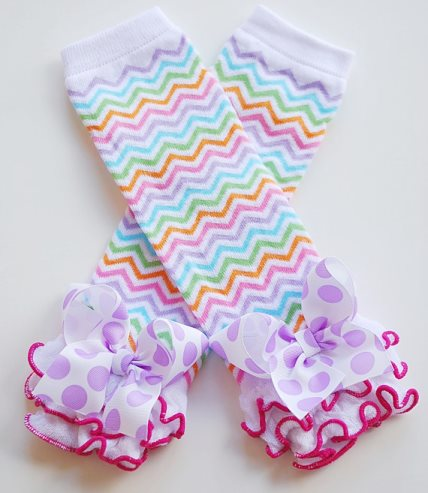 Pastel Chevron Ruffled Leg Warmers with Bows-pastel, colorful, hot, pink, ruffled, orange, lavender, polka, dots, bows, pink, green, aqua, leggings, leg, warmers, spring