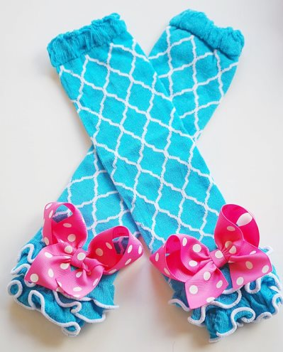 Turquoise Quatrefoil Ruffled Leg Warmers with Hot Pink Bows-turquoise, blue, and, hot, pink, polka, dots, leggings, leg, warmers, bows