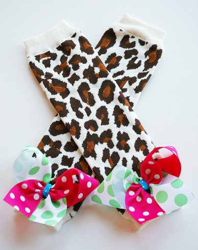 Leopard Leg Warmers with Colorful Bows-cheetah, leopard, animal, print, leggings, leg, warmers, brown, hot, shocking, pink, green, turquoise, bows, polka, dots