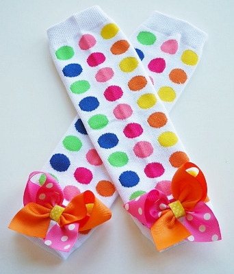 Colorful Jumbo Dots Leg Warmers with Bow-colorful, birthday, party, polka, dots, bows, yellow, orange, hot, pink, blue, and, lime, green, leggings, leg, warmers