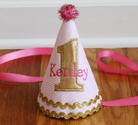 Girls Hot PInk & Gold 1st Birthday Party Hat-personalized, birthday hat, birthday party, infant, baby girl, boutique, pom pom, first, 1st