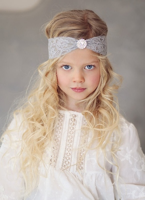 Gray Lace Bohemian Rhinestone Headband-Gray, grey, Flower Girl, Headband, Silver, Lace, Bohemian, Rhinestone Button, infant, baby, girl, boutique