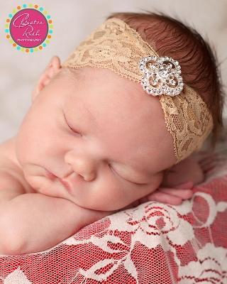 Tan Lace Bohemian Rhinestone Headband-Lace, Bohemian, Headband, Tan, Rhinestone, bling, vintage, infant, baby, girl