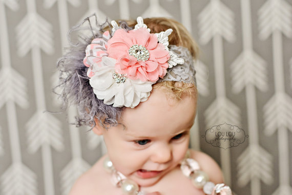 Gray & Pink Ruffled Lace Bloomers & Chevron Flower Headband Set-pink and gray, grey, gray, pink, chevron, lace, ruffle, flower, headband, set, infant, baby, girl, newborn, diaper cover, ruffle, bloomers, bloomer