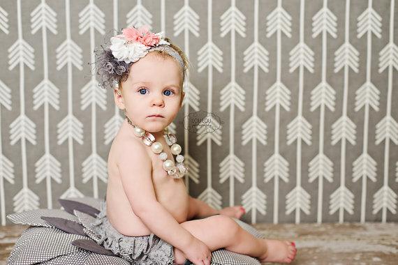 Gray & Pink Ruffled Lace Bloomers & Chevron Flower Headband Set-pink and gray, grey, gray, pink, chevron, lace, ruffle, flower, headband, set, infant, baby, girl, newborn, diaper cover, ruffle, bloomers, bloomer