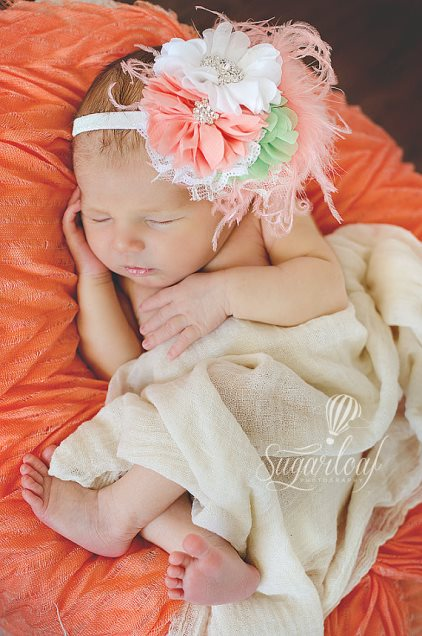 Coral & Mint Lace Rhinestone Feather Vintage Flower Headband-Coral, and, Mint, Girls, Headband , Lace ,Rhinestones, couture, over the top, flower, headband, spring, summer, feathers, infant, baby, girl, newborn, headband