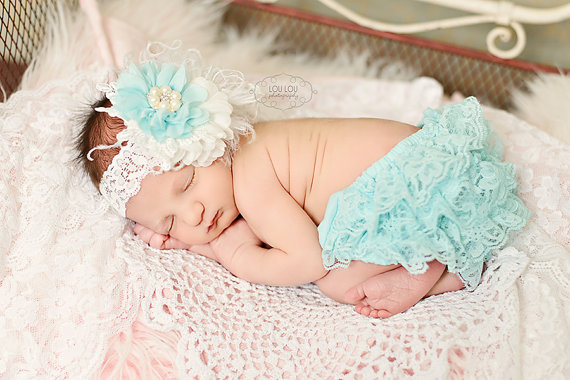 Aqua & White Flower Lace Headband & Ruffle Bloomer Set-aqua, lace bloomers, bloomer, diaper cover, newborn, baby, girl, photo shoot, infant, lace, ruffle, vintage