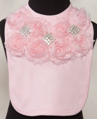 Pink Rhinestone Chiffon Baby Bib-light, pink, chiffon, ruffle, rhinestone, bling, baby bib, frilly, girly, newborn, infant, baby, girl, boutique, baby bib, gift