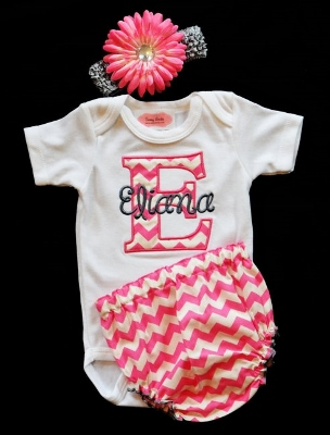 Hot Pink & Gray Chevron Baby Girl 3pc. Infant Outfit Set-grey, gray, hot, pink, and, outfit, set, boutique clothing, personalized, custom, infant, baby girl, newborn, summer