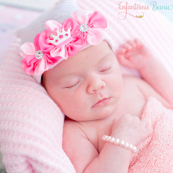 Lil Princess Tiara Newborn Boutique Hospital Hat-pink, hot pink, infant, baby, girl, boutique, hospital hat, crown, tiara, flowers, infanteenie beenie, hat